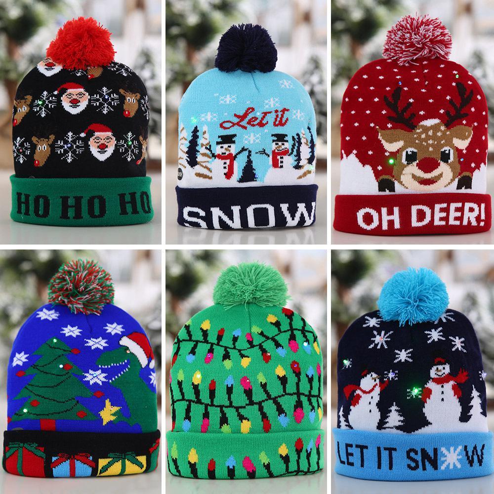 Рождественская шапочка зимняя шапка рождественские украшения мяч вязание шляпа светодиодная лампа колпачок взрослых детей шапка 6 цветов OWE3258
