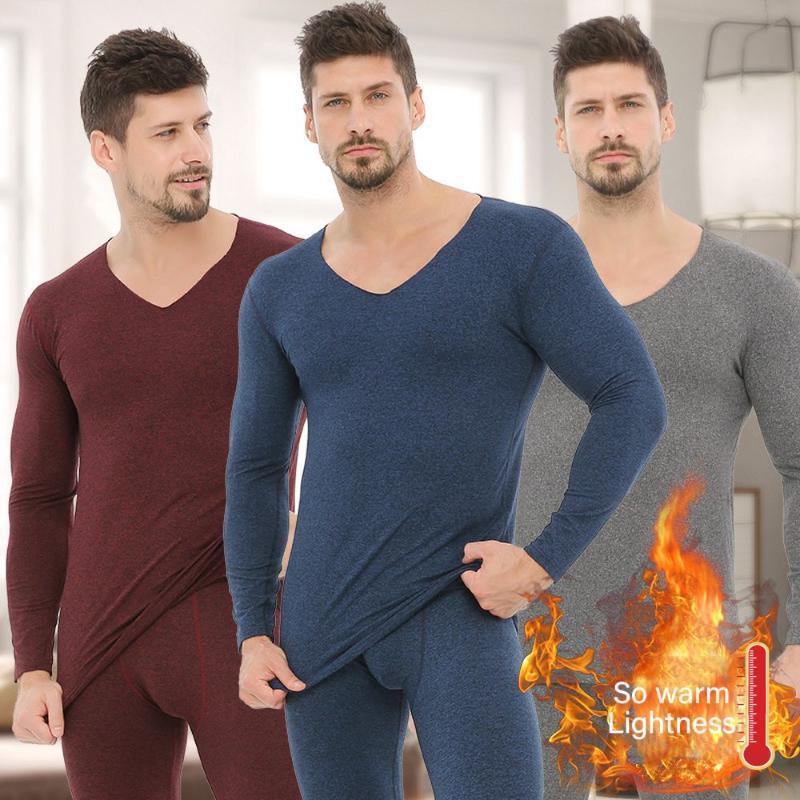 Jogo de roupa interior térmica masculina Outono inverno quente Long Johns mais roupas térmicas homens de veludo espessamento underwear conjunto M-4XL