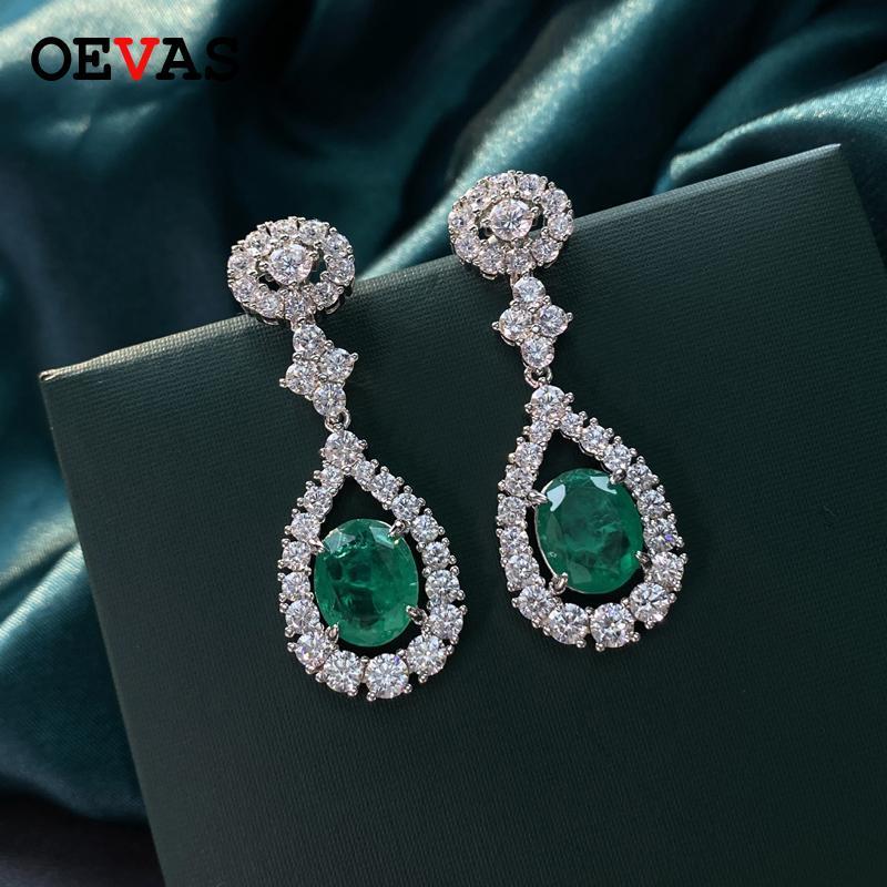 100% 925 argento sterling retro smeraldo smeraldo scava fuori goccia d'acqua ad alta carbonio diamante a goccia orecchini donne partito gioielli gioielli