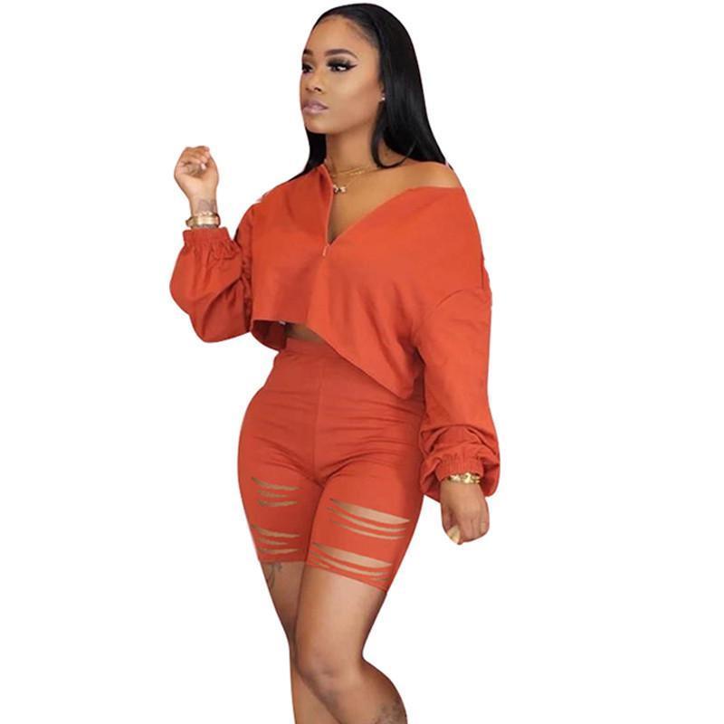 Kadın Eşofmanlar 2021 Casual İki Parçalı Set Yaz Giysileri Kadınlar Için Eşofman Kırpma Üst Delik Şort Ter Suits Lounge Giyim Eşleştirme Kıyafet