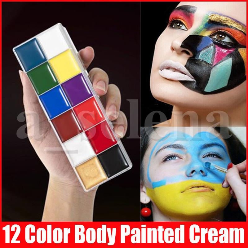 12 Renk Moda Vücut Boyalı Krem Cadılar Bayramı Makyaj Yüz Yüz Nemlendirici Yüz Boyama Cream Kalıcı Boya