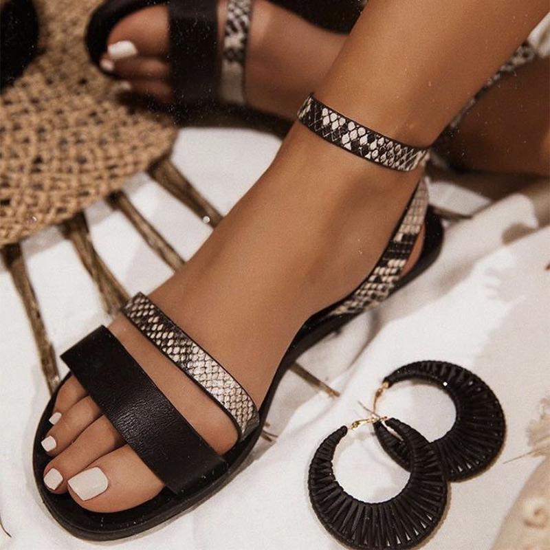 Женская обувь змея печать женские сандалии 2020 летняя мода искусственная кожа повседневная обувь пляж лодыжка пряжка обертывания женские сандалии