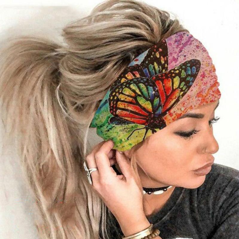 Women Wide Sport Yoga Headband Stretch Hairband Elastic Ladies Hair Band Turban