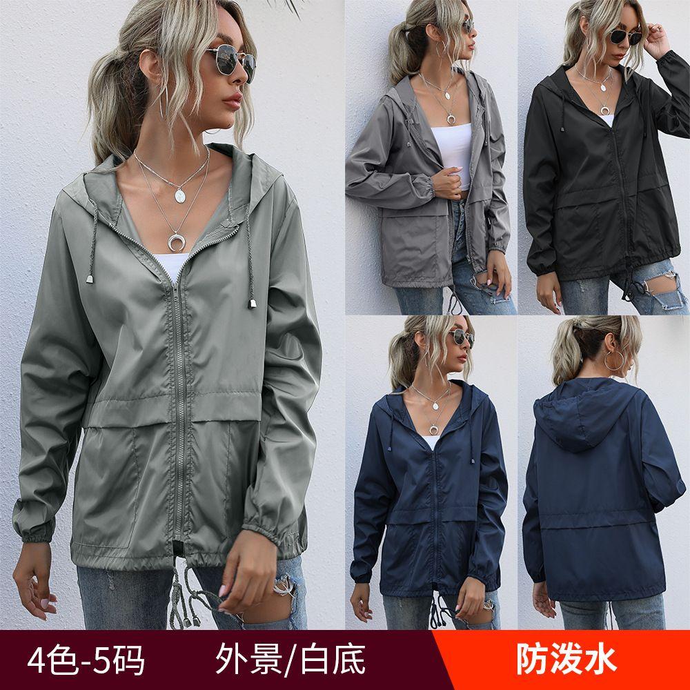 5colour S-XXL 여성 지퍼 까마귀 경량 야외 하이킹 방수 비옷 자켓 재킷 여성 카디건 자켓 탑 42628347491249