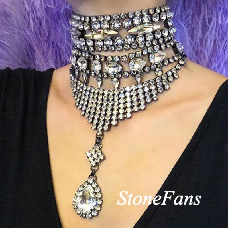 Chokers StoneFans Multilayer Statement Pendant Crystal Necklace Black Gun Women Rhinestone Choker Party Bohemian Long Gothic