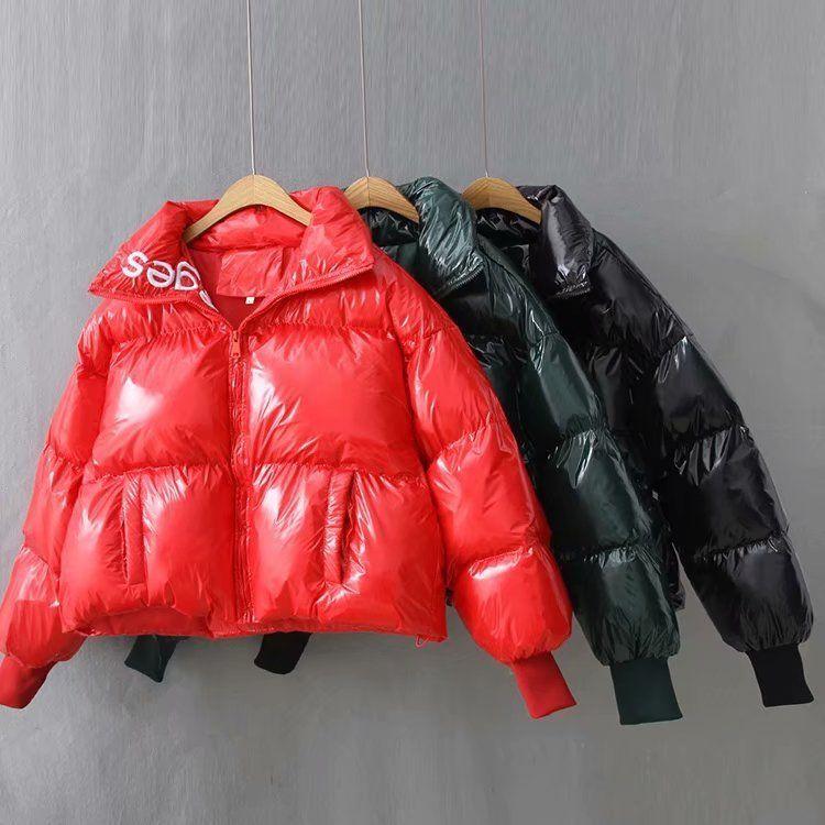 2019 Glossy Down Cappotto impermeabile da donna ricamo grande taglia allentata inverno caldo spestito da donna giacca da donna