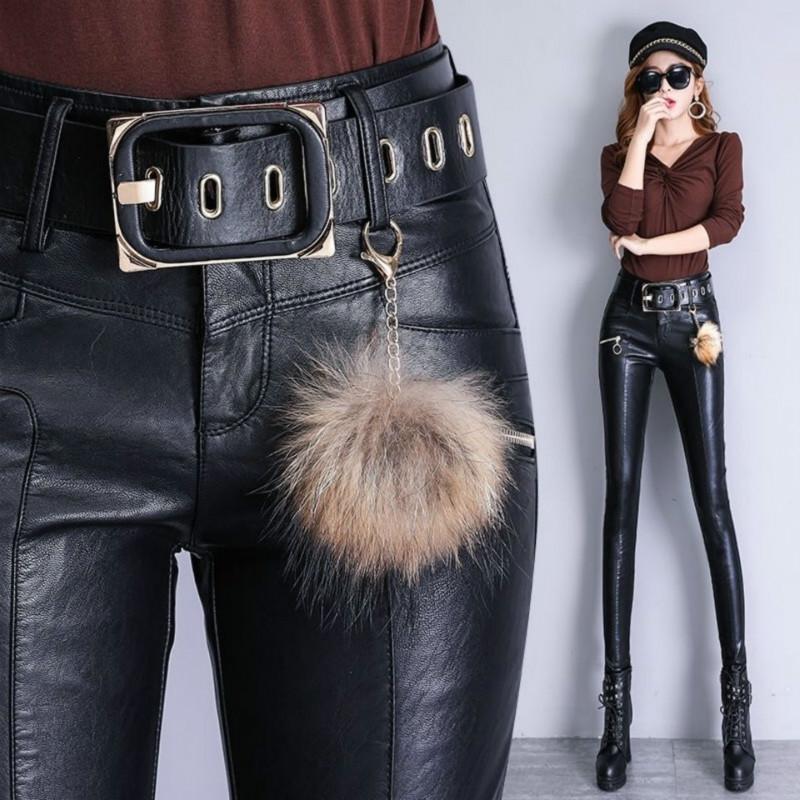Frauenhose Capris 2021 Mode Frauen PU-Leder Elastische Hohe Taille Wintergamaschen Slim Samt Skinny Fleece Hose Y79