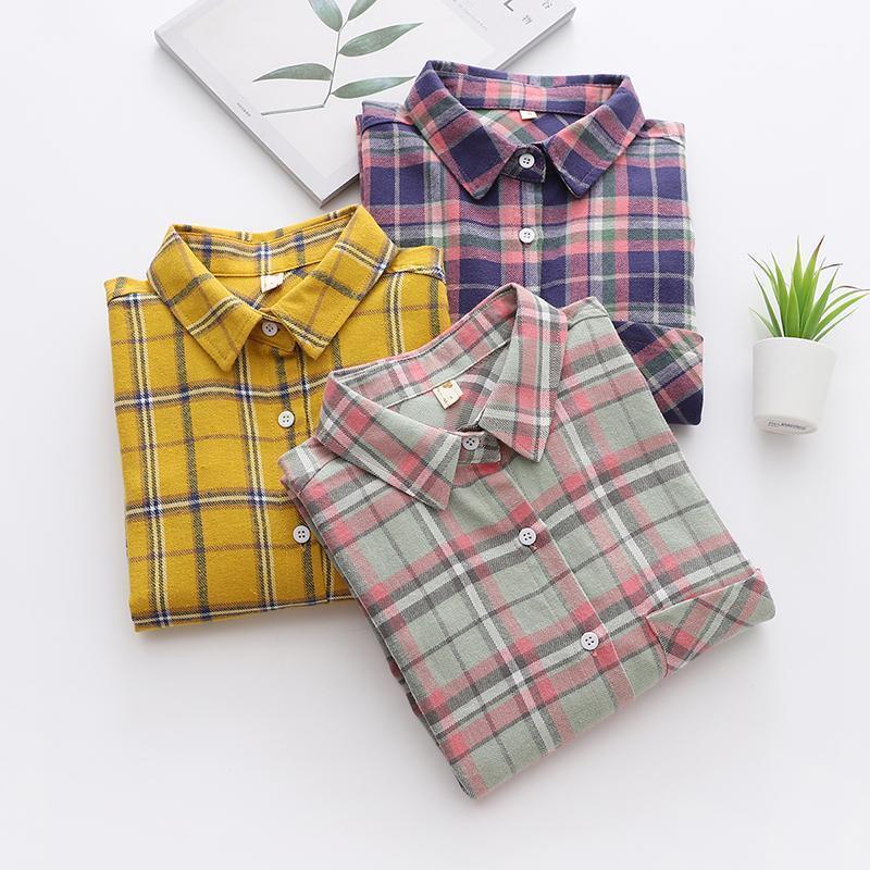 Camisa de tela escocesa de algodón casual Mujeres 2020 otoño nuevo manga larga blusa tops sueltos y blusas estilo de oficina ropa de mujer Blusas1
