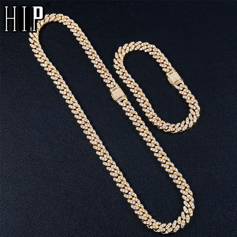 Hip Hop 8MM 2 Set Bling Iced Out Box Buckle Cuban Chain Copper Setting AAA+ Cubic Zirconia Stones Necklace For Men Women JewelryQ0115