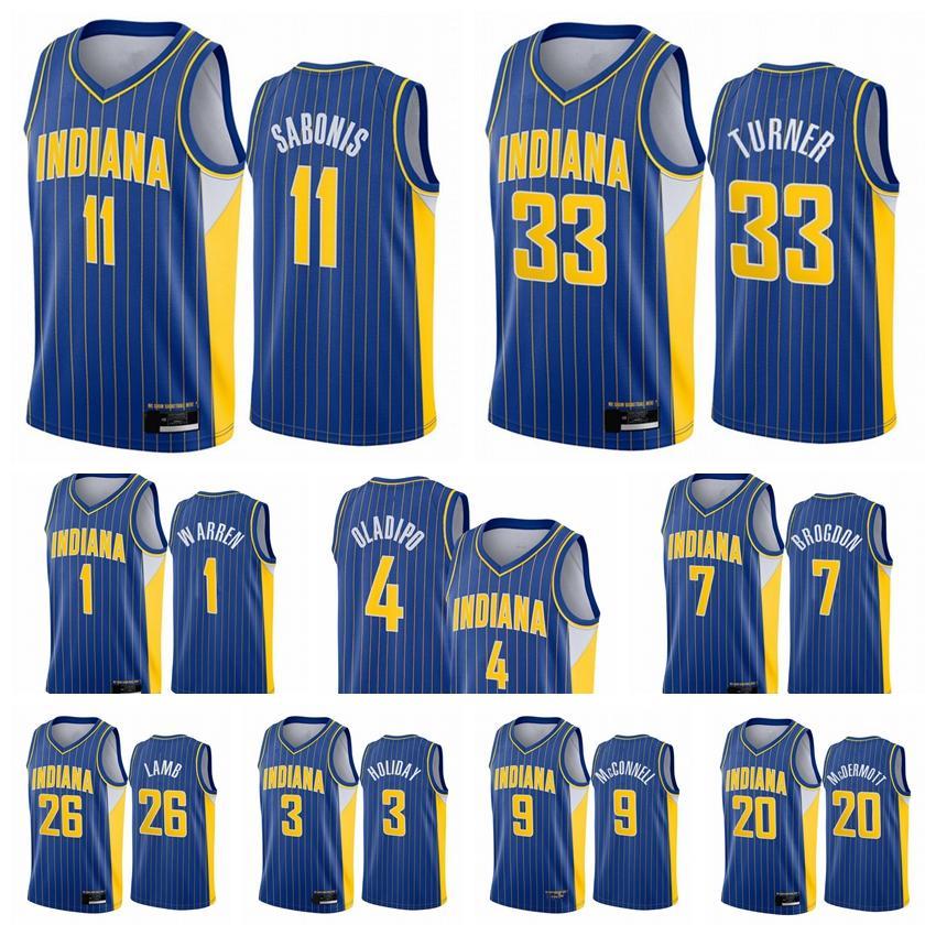 IndianaPacteurHommes Victor Oladipo Domantas Sabonis Myles Turner 2020/21 Swingman City Basketball Jersey Blue Icon Edition