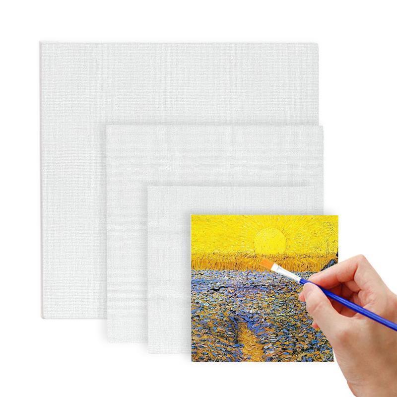 6pcs peinture toile en toile vierge de toile de coton panneaux d'art monté carré arbre de peinture embarcadère pour huile acrylique