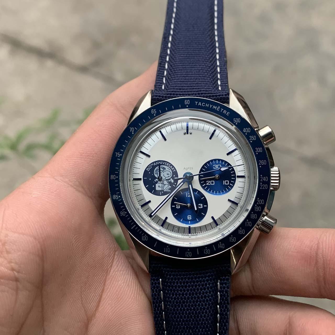 2020 달 시리즈 스눕 시계 쿼츠 배터리 운동 크로노 그래프 기능 남성 시계 강철 스트랩 스포츠 손목 시계 최고의 품질 Joan007