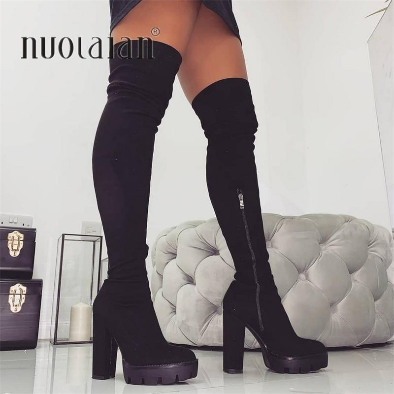 11CM High Heels Winter Boots Women Thigh High Snow Boots Woman Faux Fur High Heel Shoes Womens Over The Knee Boots Lady Shoe Y200115