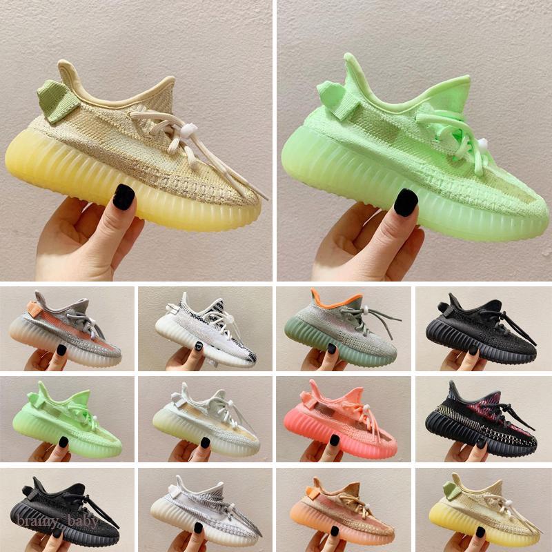 Yezzy Zapatillas de correr para niños de alta calidad MOYOR Y MUCHACHA CORE AMARILLO NEGRO NIÑOS DE NIÑOS DE NIÑOS ZAPATOS Zapatillas de deporte bebé para el regalo de cumpleaños