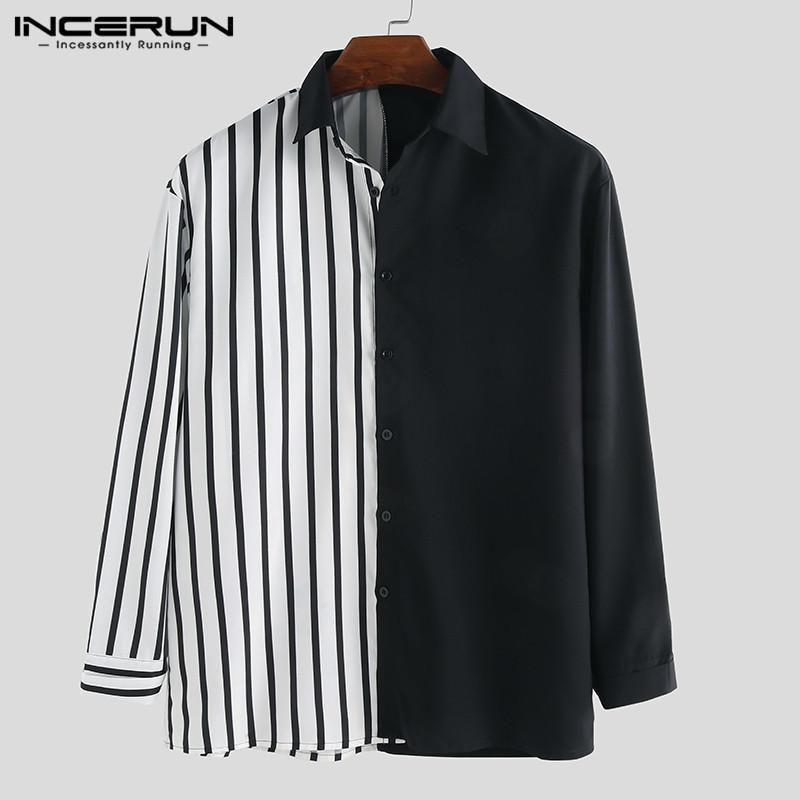 Incerun Casual Homens Camisa Manga Longa Listrada Patchwork Chique Lapela Botão de Botão de Personalidade Camisas Camisa Masculina S-5xL C1211