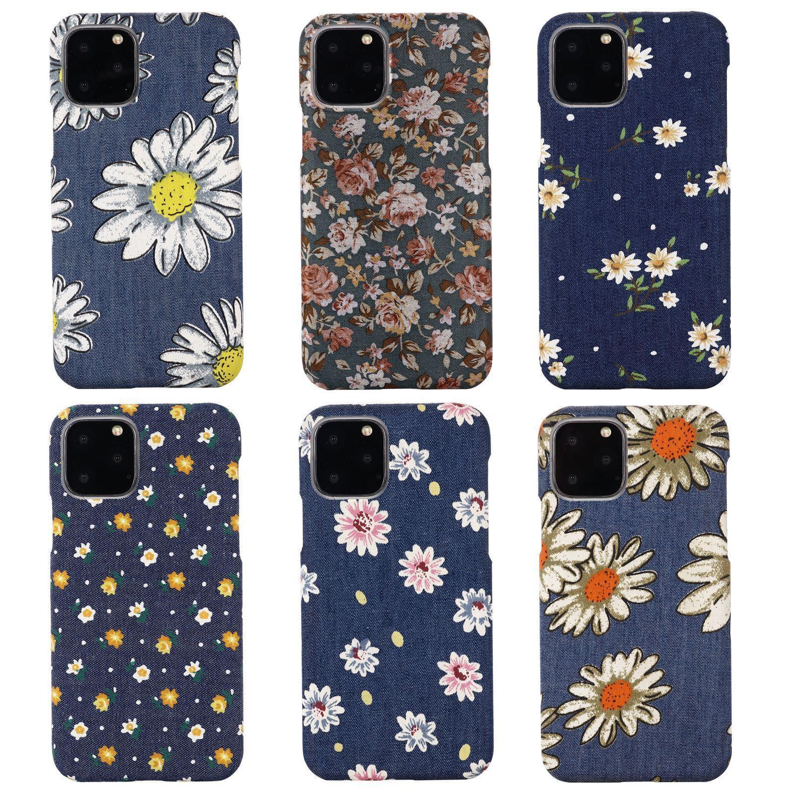 Denim Jean Chrysanthemum Printing Floral Back Cover Phone Case for iPhone 12 Mini 11 Pro Max XR XS 7 8 Plus Samsung