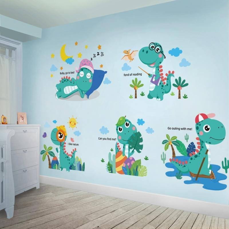 [Shijuekongjian] Dibujos animados Dinosaurio Pegatinas de pared DIY DIY Mural Decalaciones para niños Habitaciones de bebé Dormitorio de viveros Decoración 201130