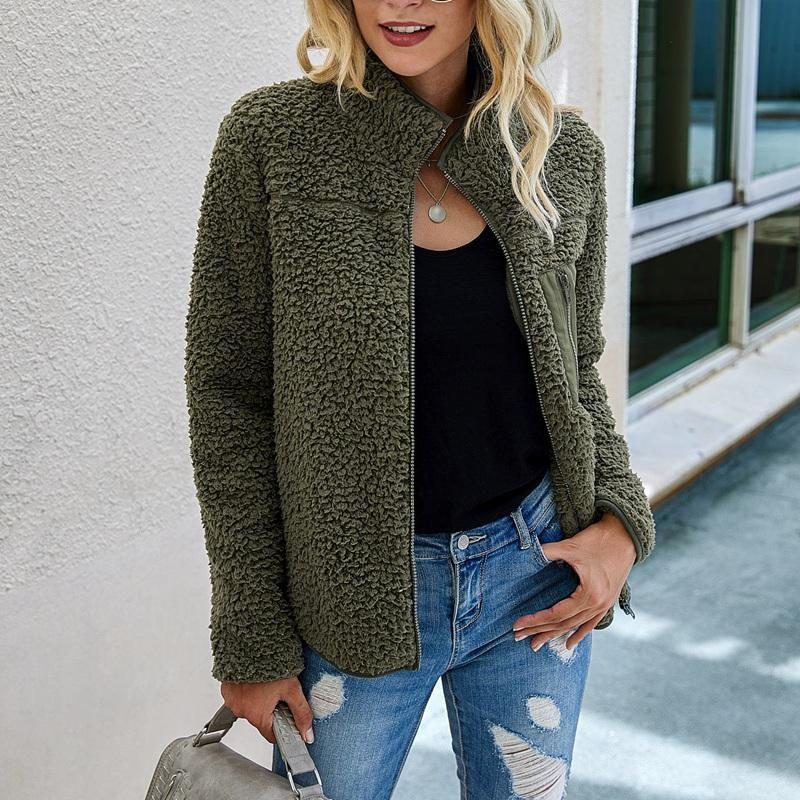 순수한 컬러 양털 봉제 따뜻한 여자 지퍼 자켓 포켓 장식 높은 칼라 숙녀 코트 여성 의류