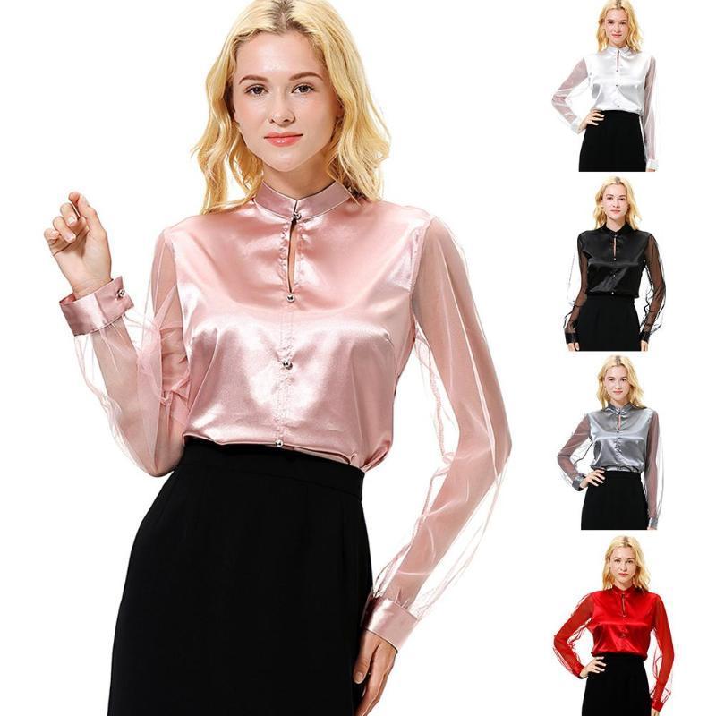 Рукава одежда тренда сетки тонкий имитация длинные шелковые повседневные женщины сверху вниз рабочая кнопка офисная блузка рубашка Segff