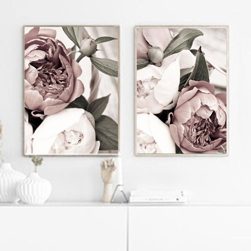 Nordic Minimalist Poster и Print Pink Blush Peony Цветочная комната Декор Холст Картина Настенный Арт Изображение для гостиной Нет Рамка1