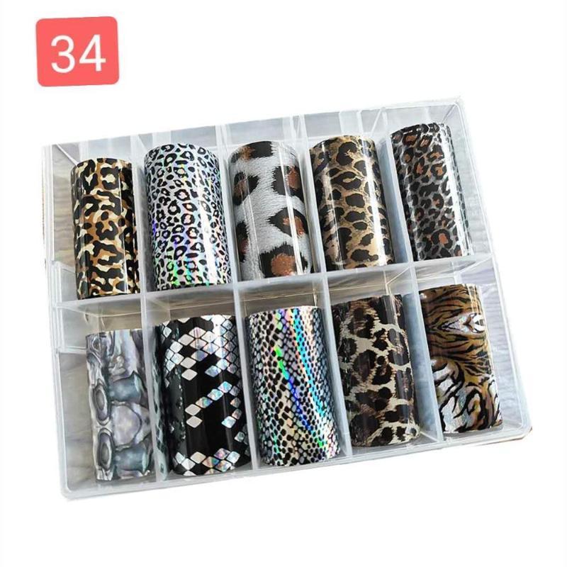 1box o bolsa de bolsas etiqueta engomada de uñas diseñador de lámina de lámina para decoración de uñas 3D (10 rollos 4x50cm / roll) calcomanías makep arte decoración
