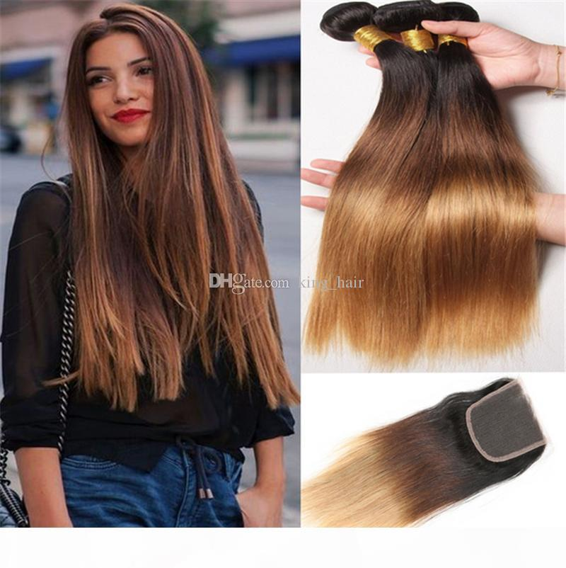 8A Ombre straight Hair Extensions #1b 4 27 Honey Blonde Ombre Human Hair 3Pcs With Lace Closure Three Tone Body Wave Hair Weave