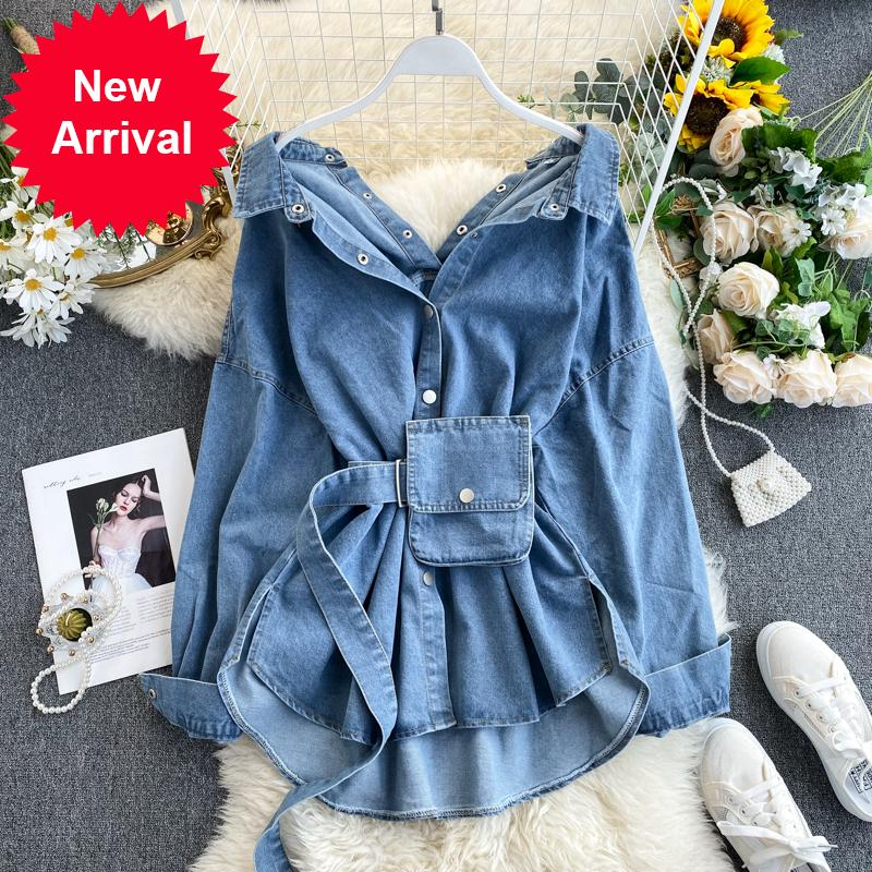 2020 весенние блузки поворотный воротник Сексуальная кнопка дизайн женские джинсовые рубашки стиль пальто женщин топы Blusas