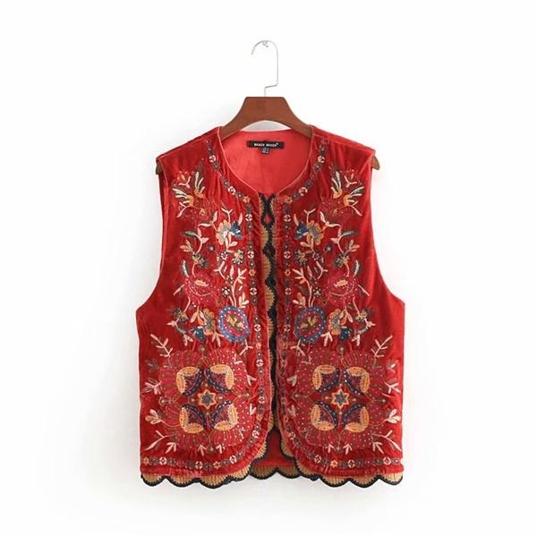 Mulheres vintage lantejoulas flor bordado colete senhoras retro estilo nacional patchwork casual veludo waistcoat ct154 q1119