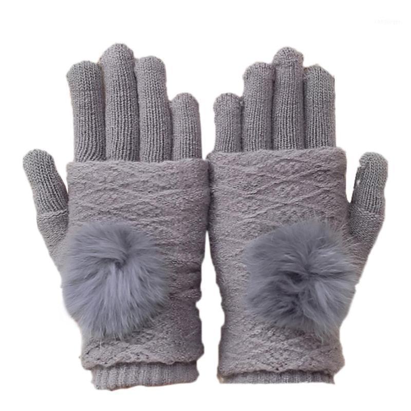 Пять пальцев перчатки зимние женщины мягкий мех мяч из искусственного кашемирового сенсорного экрана полные теплые перчатки1