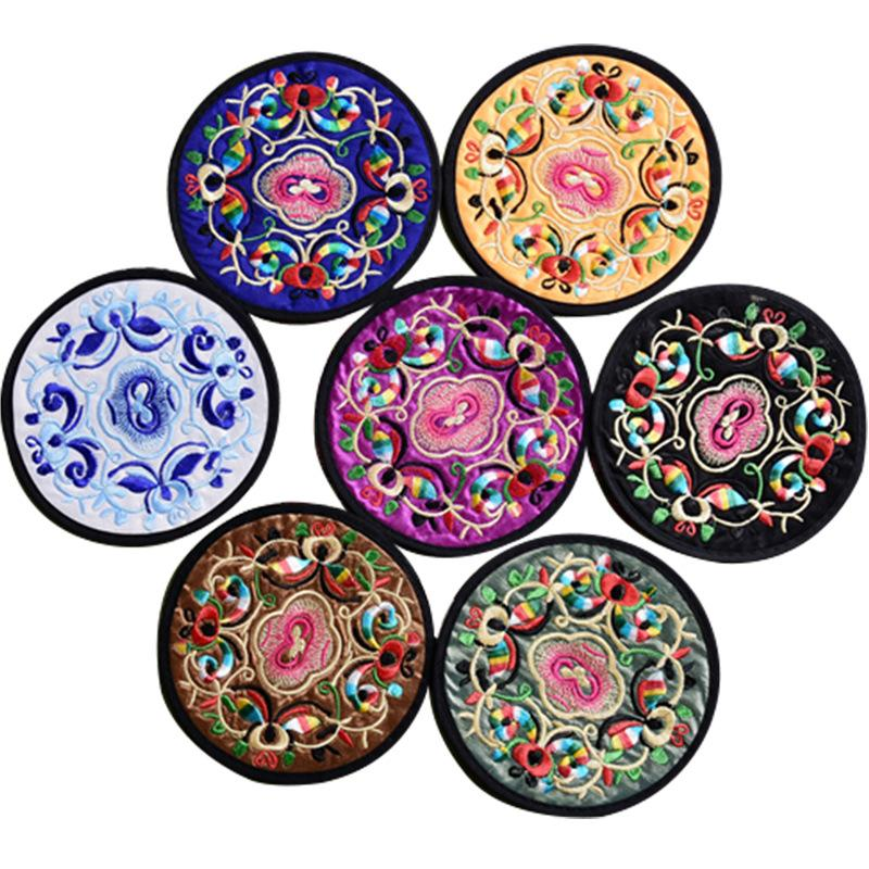 Home Non-woven Embroidery Floral Pattern Ethnic Coaster Tribal Cup Teapot Mat Drink Holder Floral Tableware Placemat 146 G2