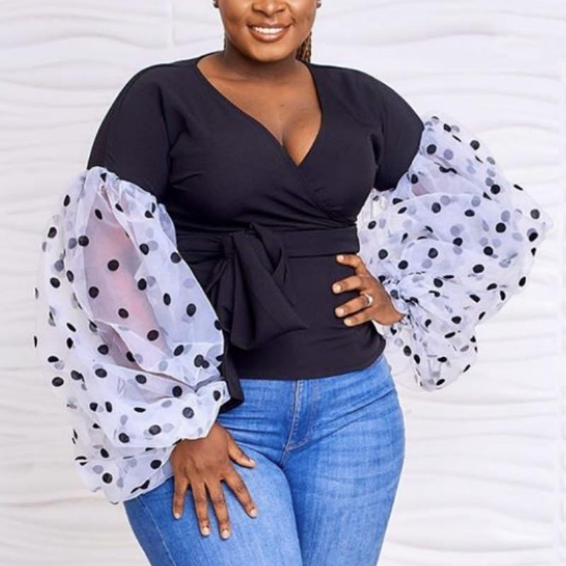 Femmes Blouse Patchwork Tulle Longue Lanterne Sleeve Polka Dot V Cou Sashes Elegant Office Dames Classy Tops Chemise Bluas Plus Taille1