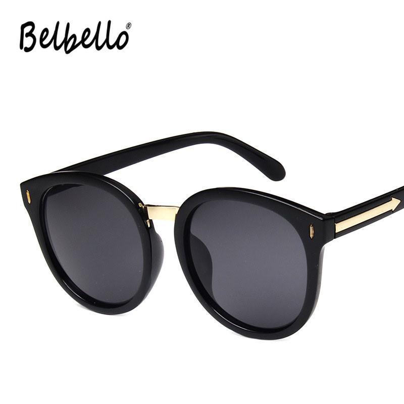 Güneş Gözlüğü Belbello 2021 Büyük Çerçeve Kadın Stil 10 Renk Katı Moda erkek Retro Trend Yuvarlak UV400
