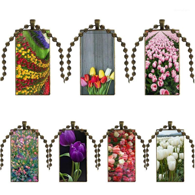 Jóias vintage cor de bronze vidro cabochão gargantilha pingente longo retângulo colar para mulheres gargantilha azul primavera colorido tulips1