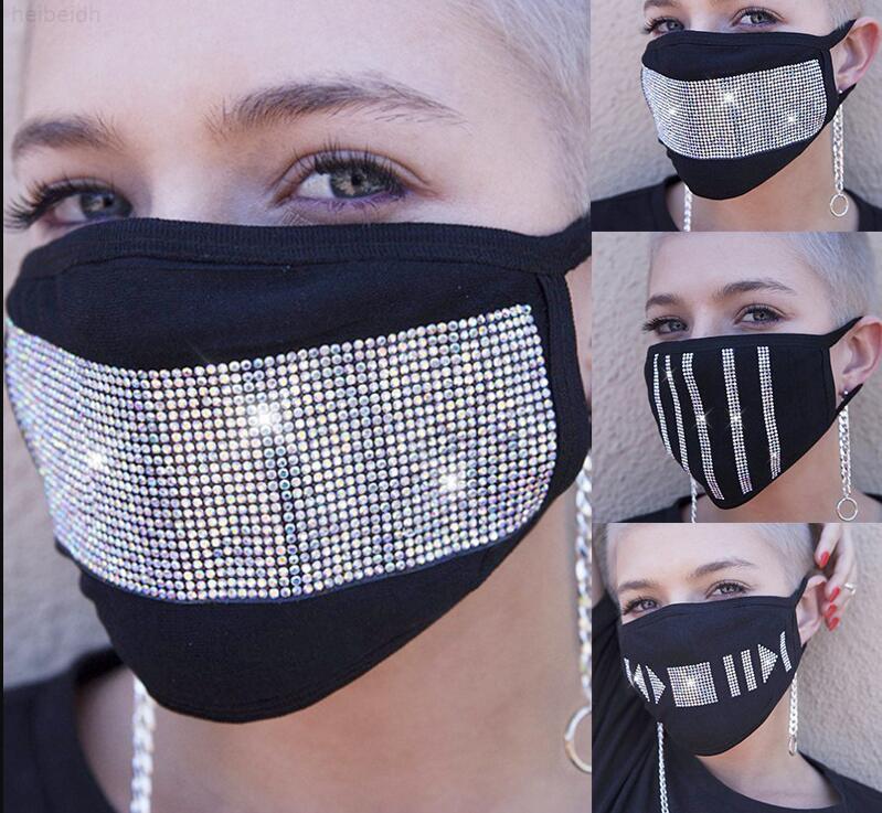 Tuch Bling Gesichtsmaske Wiederverwendbare Kristall Strass Diamant Funkeln Gesichtsabdeckung Protive Gesichtsmaske für Teenager Erwachsene BC1