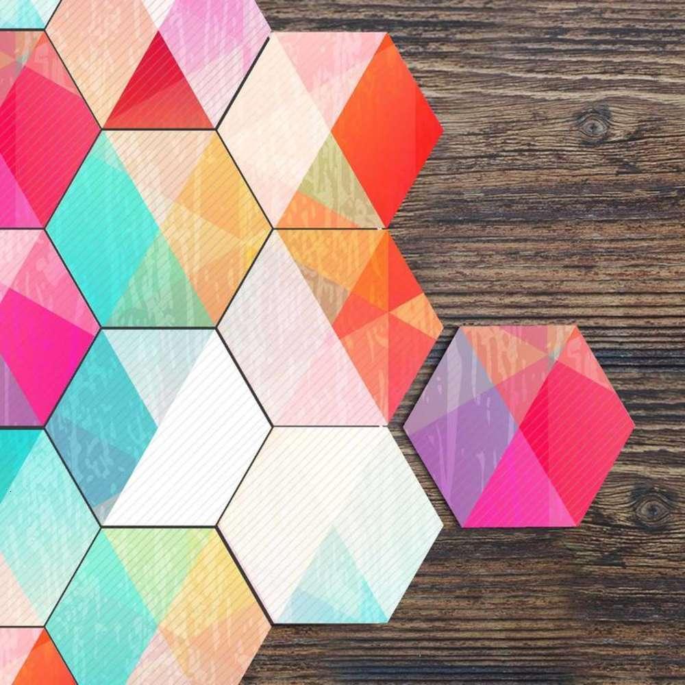 NOUVEAU Rainbow Hexagon Tile Cuisine Cuisine Maison antidérapante Plancher Diy Creative Splicing Mur Pâte LB018