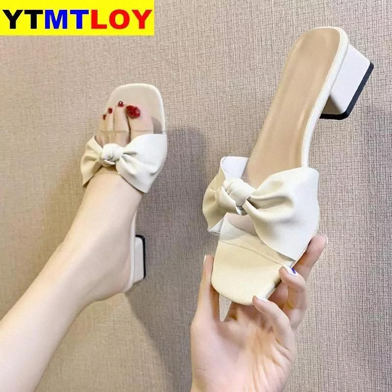 2021Women Shoes Pumps Sandals High Heels Flip Flops Block Heel Sexy Slippers Slip-on Summer Ladies Slides Narrow Butterfly-knot #Jo2u