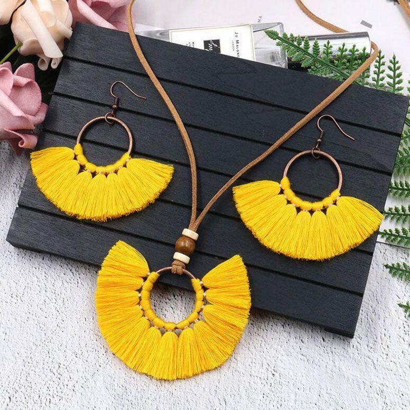 Nuevo collar de pendientes de borla retro conjunto hecho a mano multi colores bohemia mujeres círculo étnico borla joyería conjunto epacket libre