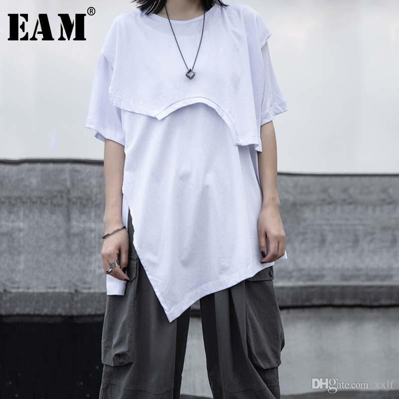 Frauen Weiß Unregelmäßiger Saum Split Große Größe T-Shirt Rundhals Hals Halbhülse Mode Flut Frühling Sommer KG-822