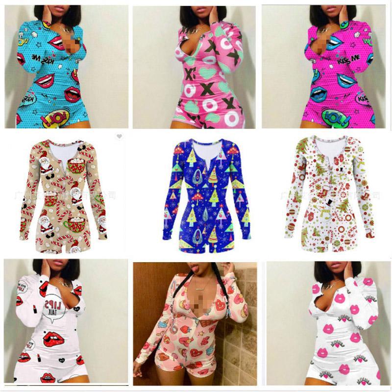 MUJERES DE MUJERES MOMPERS DESIGNADORES Ropa 2020 Navidad Pijama Onesies Nightwear Entrenamiento Flyny Hot Print V-cuello corto Onesies