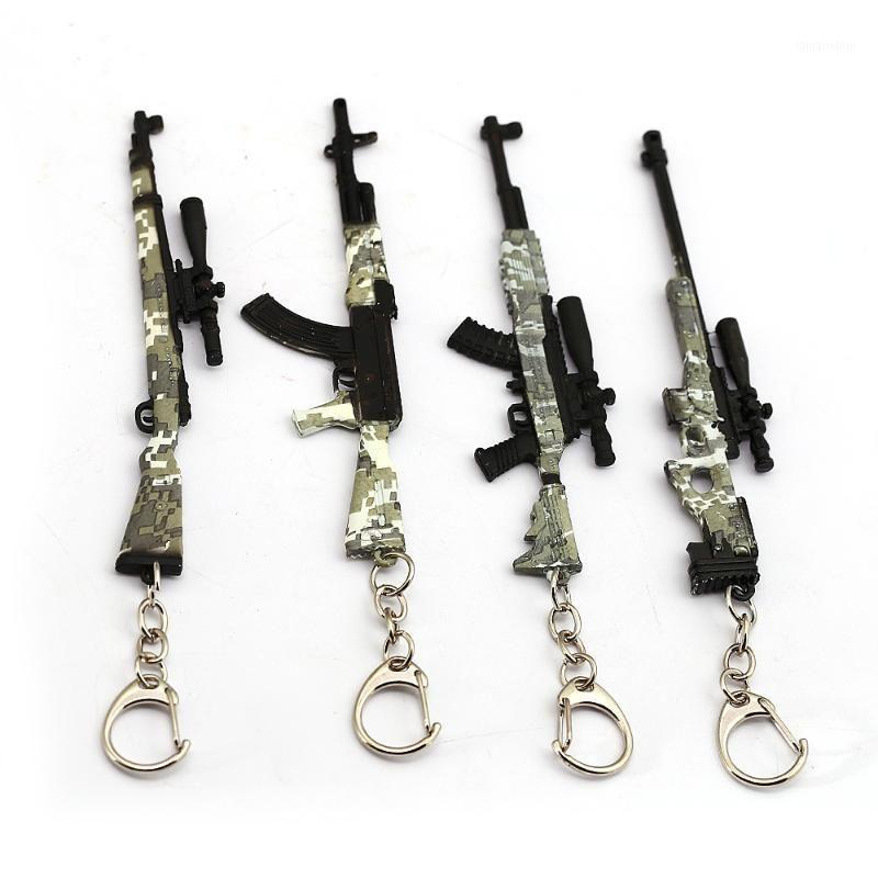 Schlüsselanhänger 2021 Spiel Gun Modell 98K AWM Tarnung Keychain 12cm PUBG Schlüsselanhänger Portachiavi Porte Clef Männer Schmuck Souveni1