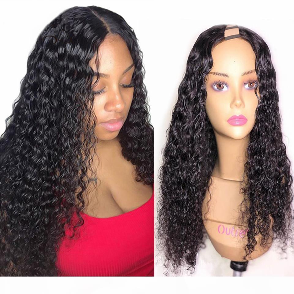 Lockig u teile menschliche haarperücke 150 dichte brasilianische remy menschliche haare upart perücke wasserwelle lockig mittlere teile u formperücke