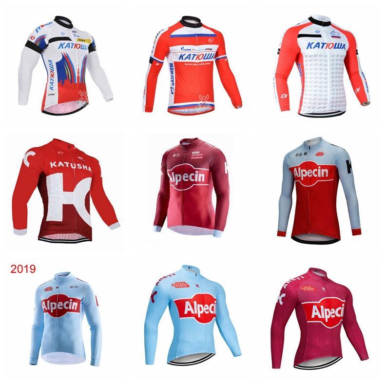 Katusha Team Mens Велоспорт Джерси MTB Велосипедная рубашка ROPA Ciclismo Длинные рукава Велосипеда Одежда на открытом воздухе Одежда на открытом воздухе Униформа Велосипедная одежда 102124