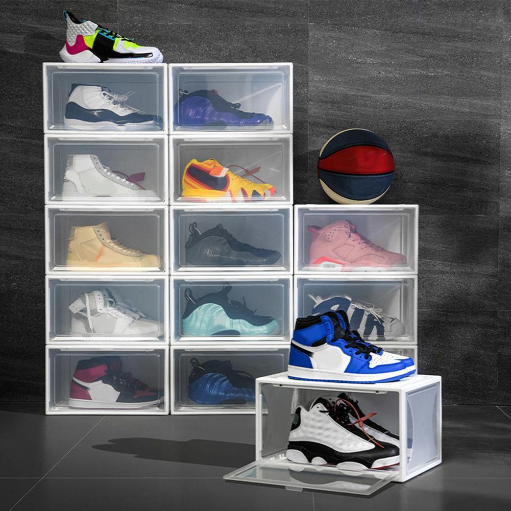 Прозрачная коробка для обуви жесткая пластиковая коробка для хранения Коллекция Sunder Mainture Pust Power Contule AntiUse Обувь для обуви Q0120
