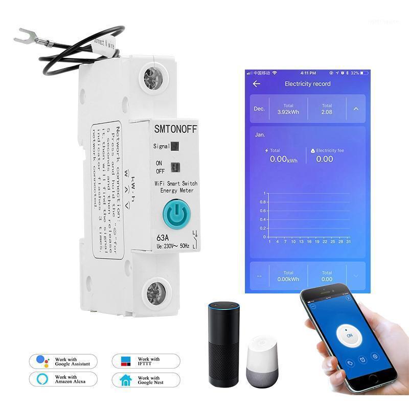 1P EWELLINK SINGLE PASSA PASSAGGIO DIN GAIFI WiFi Smart Energy Meter Accumulo di energia KWH Misuratore WattMeter con Alexa Google per Smart Home1