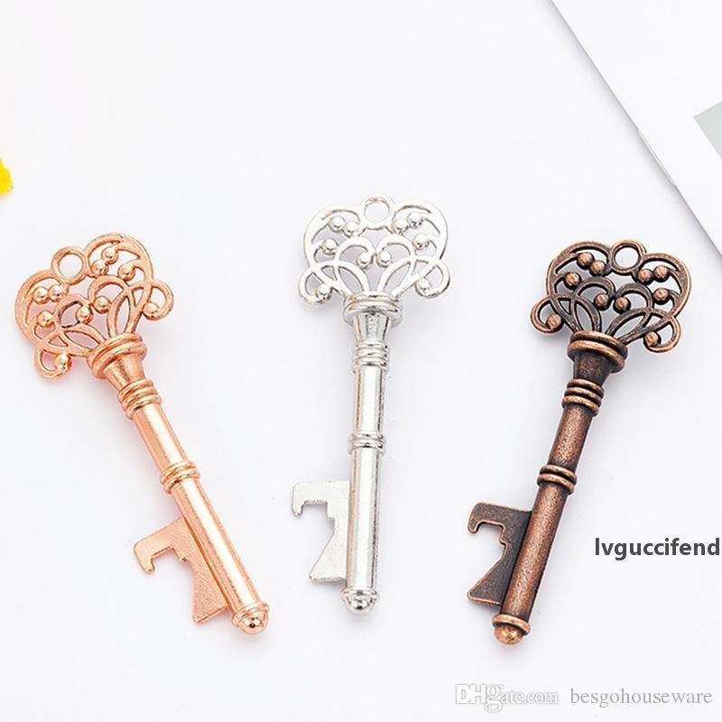 Vintage Anahtarlık Açıcı Antik Anahtar Bira Şişe Açacağı Düğün Bar Mutfak Alet Unisex Dekoratif Anahtarlık Hediye Metal Açıcı BH1954 ZX