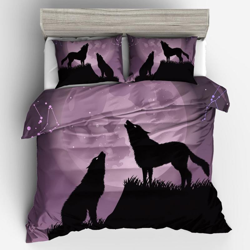 Роскошные, комфортные, дышащие, одинокие волка вожна постельного белья одеяла набор двойной полная королева королевский размер одеяла подушка подушки подушки