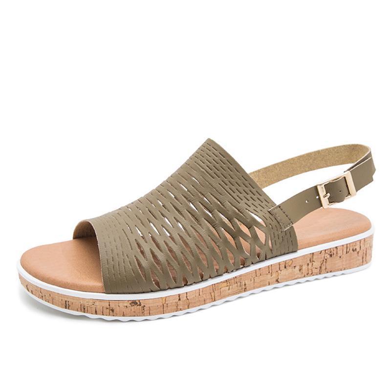 النساء الجوف العودة حزام الصنادل الشقق الأحذية النسائية عالية الجودة الأزياء الساخنة غير الانزلاق الأحذية بارد بو الجلود 2021 صيف جديد