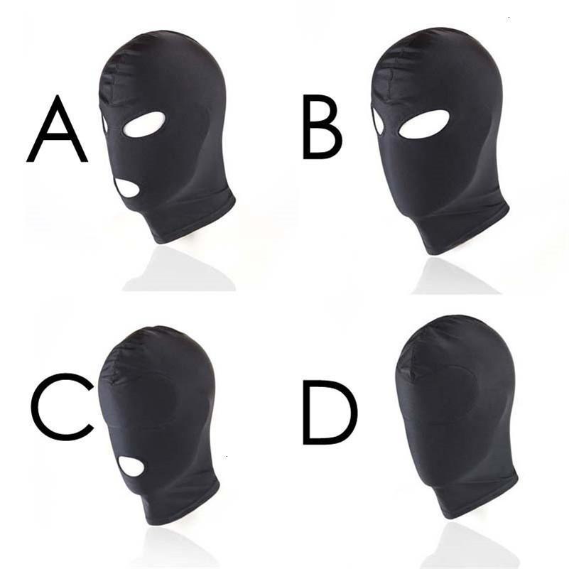 4 Ürün Stil Mores Fetiş Unisex Seks Hood BDSM Ağız Y18110401 Slave Oyuncaklar Siyah Maske Hood Yetişkin Esaret Oyunu Kadınlar Için Çift Göz TGRW