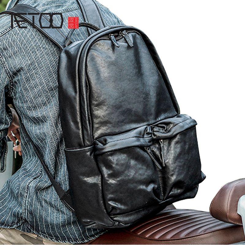 HBP aetoo deri trend çantası, kafa çantası rahat seyahat erkek el yapımı vintage bronzlaşma bitki omuz vgwjx