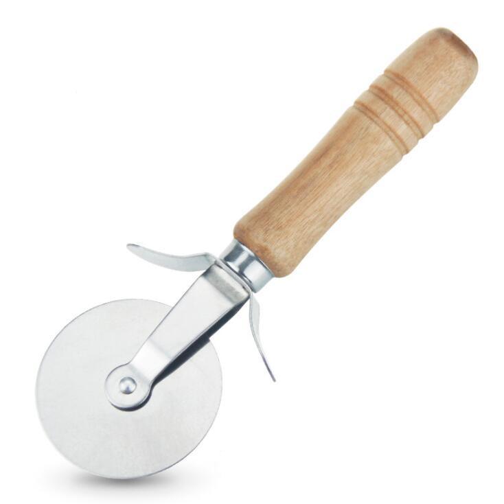 Pizza Cutter Couteau poignée ronde en bois en acier inoxydable pâtisserie antiadhésives Pizza Cutter Wheel Slicer Avec Grip Cuisine Outils YL1238